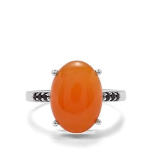 Botswana Agate & Black Spinel Sterling Silver Ring ATGW 5.94cts