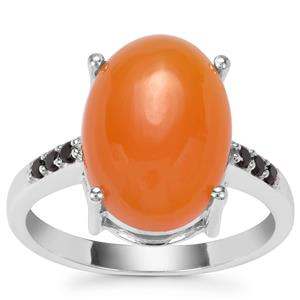 Botswana Agate Ring with Black Spinel in Sterling Silver 5.94cts
