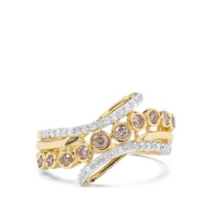 1/2ct Champagne & White Diamond 9K Gold Tomas Rae Ring