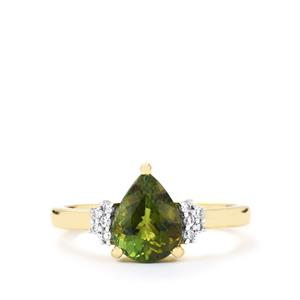 Cuprian Tourmaline Ring with Diamond in 18k Gold 1.21cts