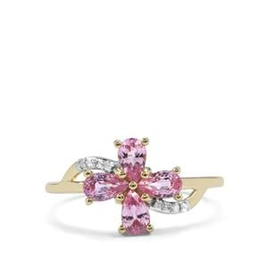 Sakaraha Pink Sapphire Ring with Diamond in 9K Gold 1.10cts