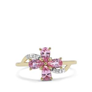 Sakaraha Pink Sapphire Ring with Diamond in 10K Gold 1.10cts