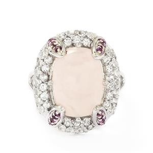 Rose Quartz & White Topaz Sterling Silver Ring ATGW 8.37cts