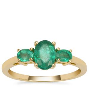 Kafubu Emerald Ring in 9K Gold 1cts