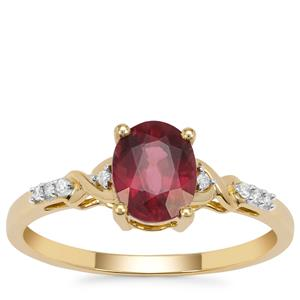 Malawi Garnet Ring with Diamond in 9K Gold 1.25cts