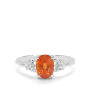 Mandarin Garnet Ring with White Zircon in Sterling Silver 2.10cts