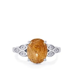 Bahia Rutilite & White Topaz Sterling Silver Ring ATGW 3.44cts
