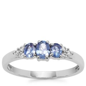 Ceylon Sapphire Ring with White Zircon in 10K White Gold 0.78cts