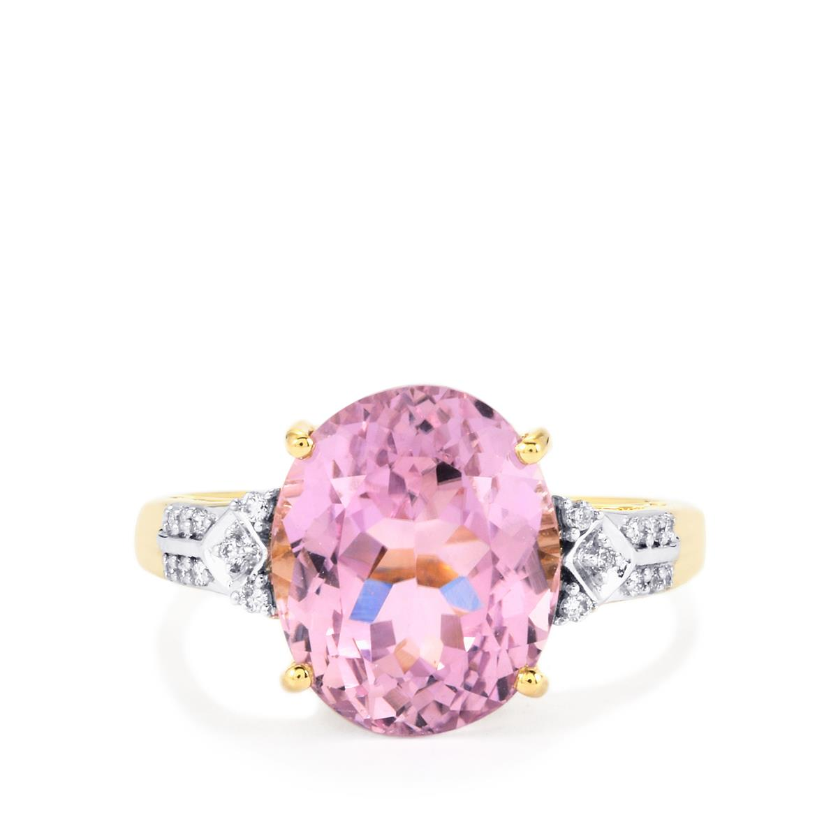 Mawi Kunzite Ring with Diamond in 14K Gold 7.34cts | ETPS47 | Gemporia