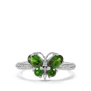 Chrome Diopside & White Zircon Sterling Silver Butterfly Ring ATGW 1.37cts