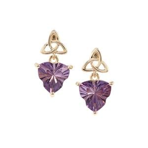 Lehrer Infinity Cut Zambian Amethyst Earrings in 9K Gold 3.41cts