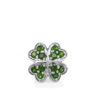 1.22ct Chrome Diopside Sterling Silver Kama Bead Four Leaf Clover Charm