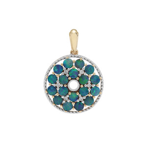 Crystal Opal on Ironstone & White Zircon 9K Gold Pendant ATGW 2.27cts