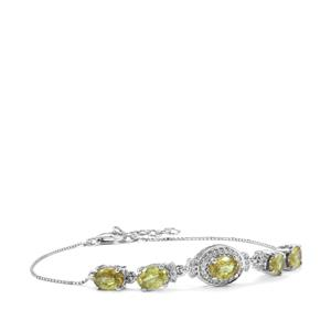 Ambilobe Sphene Bracelet with Diamond in 18K White Gold 4.16cts
