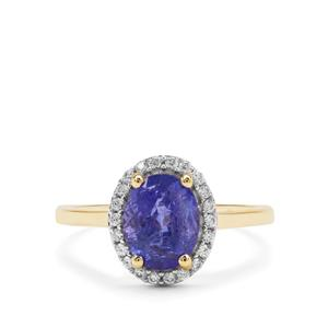 Tanzanite Ring with White Zircon in 9K Gold 2.41cts
