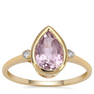 Kolum Kunzite Ring with Diamond in 9K Gold 2.60cts