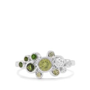 Chrome Diopside, Red Dragon Peridot & White Zircon Sterling Silver Ring ATGW 0.84cts