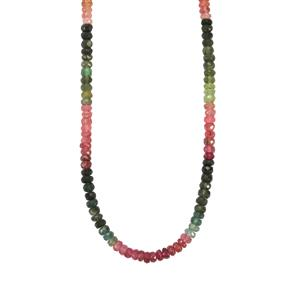 Rainbow Tourmaline Necklace in Sterling Silver 58cts