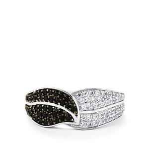 Black Spinel & White Zircon Sterling Silver Natura Couture Ring ATGW 1.20cts