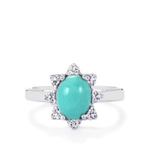 Sleeping Beauty Turquoise Ring with White Topaz in Sterling Silver 1.95cts