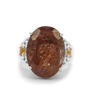 Bahia Rutilite Ring with Diamantina Citrine in Sterling Silver 16.71cts