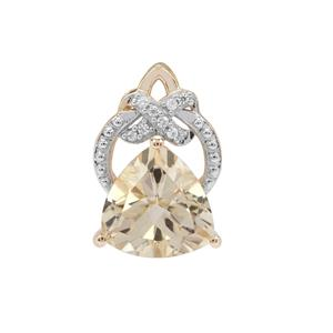 Serenite Pendant with White Zircon in 9K Gold 2.97cts