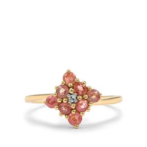 Padparadscha Sapphire Ring with Diamond in 10k Gold 0.95cts