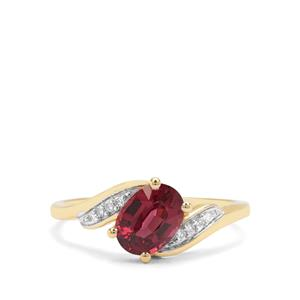Malawi Garnet & Diamond 9K Gold Ring ATGW 1.57cts