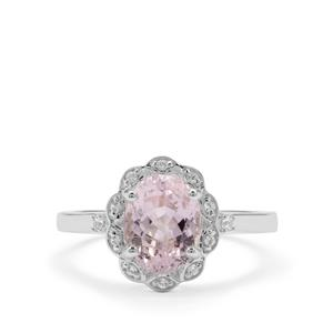 Brazilian Kunzite Ring with White Zircon in Sterling Silver 2.73cts