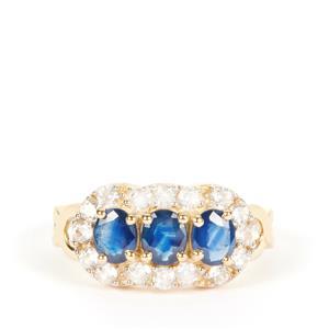 Kanchanaburi Sapphire Ring with White Zircon in 9K Gold 2.35cts