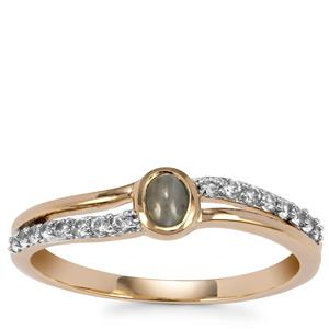 Cats Eye Alexandrite Ring with White Zircon in 9K Gold 0.45ct