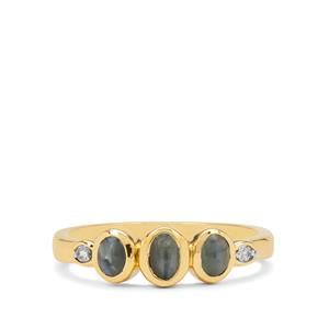 Cats Eye Alexandrite Ring with White Zircon in 9K Gold 0.95ct