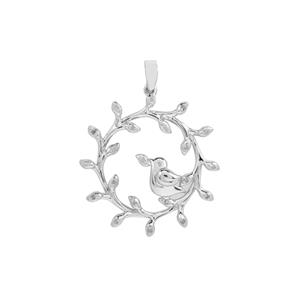 Diamond Bird Design Pendant in Sterling Silver 0.13ct