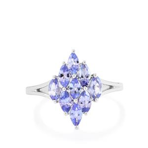AA Tanzanite Ring in Sterling Silver 1.23cts