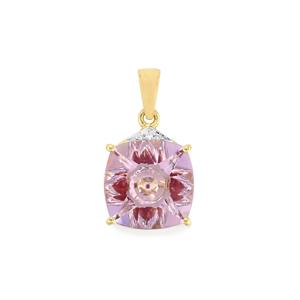 Lehrer KaleidosCut Rose De France Amethyst, Thai Ruby Pendant with Diamond in 9K Gold 5.48cts (F)