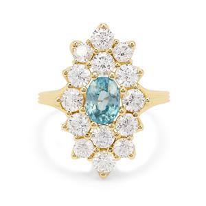 Ratanakiri Blue Zircon Ring with White Zircon in 9K Gold 4.40cts