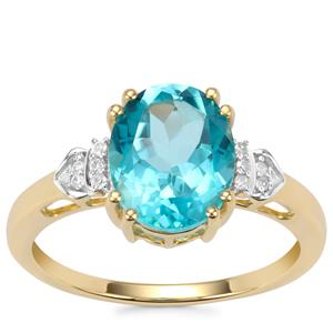 Batalha Topaz Ring with Diamond in 9K Gold 3.20cts