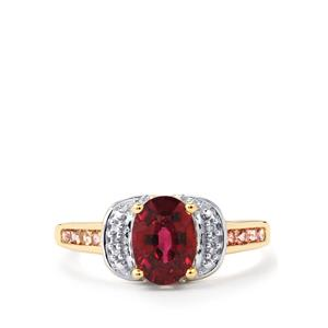 Comeria Garnet, Pink Tourmaline & Diamond 10K Gold Ring ATGW 1.86cts