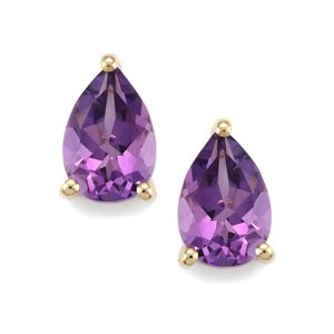 2.36ct Kenyan Amethyst 9K Gold Earrings
