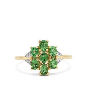 Tsavorite Garnet Ring with Diamond in 9K Gold 1.30cts