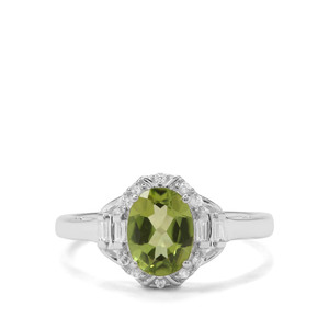 Red Dragon Peridot & White Zircon Sterling Silver Ring ATGW 1.62cts