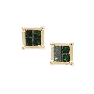 Green Diamond Earrings in 9K Gold 0.25ct