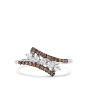 Champagne Diamond Ring with White Diamond in Sterling Silver 0.50ct