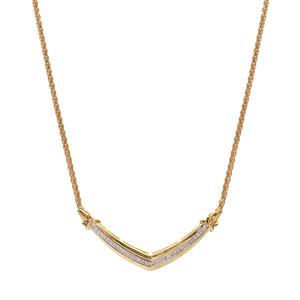 White Diamond Necklace  in Vermeil 1/10ct
