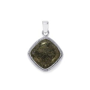 Fossil Black Coral Pendant in Sterling Silver 11.70cts