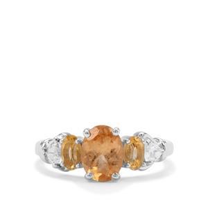 Imperial Garnet, Diamantina Citrine & White Zircon Sterling Silver Ring ATGW 2.18cts