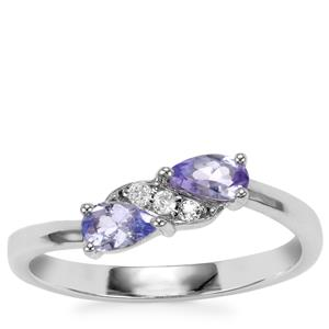 Tanzanite Ring with White Topaz in Sterling Silver 0.41cts