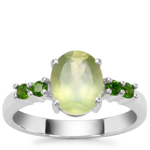 Prehnite Ring with Chrome Diopside in Sterling Silver 2.17cts