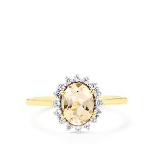 Mutala Morganite & White Zircon 9K Gold Ring ATGW 1.27cts