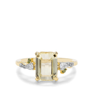 Canary Kunzite, Fern Green Topaz & White Zircon 9K Gold Ring ATGW 3.86cts